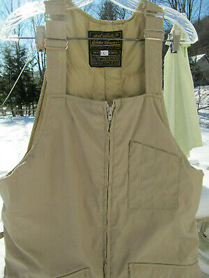 Eddie Bauer Vtg Down Insulated Ski Snow Hunting Bib Overaglls Men's Size L Large