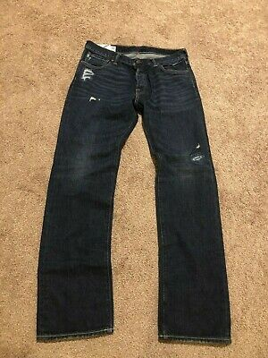 "NWT ABERCROMBIE & FITCH ""Remsen"" Low Rise Slim Straight Ripped Jeans 33 X 32"