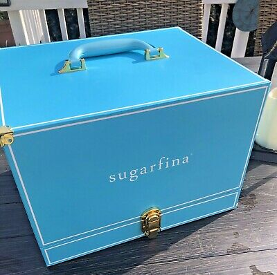 SUGARFINA Trunk Candy Box Display Case Turquoise Plus 9 Small Boxes