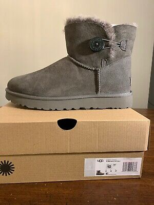 UGG Mini Bailey Button II Woman's Boots 1016422 GREY Size 10 AUTHENTIC NEW