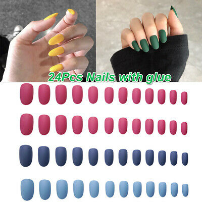 Style Round Head Fake Nails Nail Art Patch False Nail Tips With Glue Full Cover