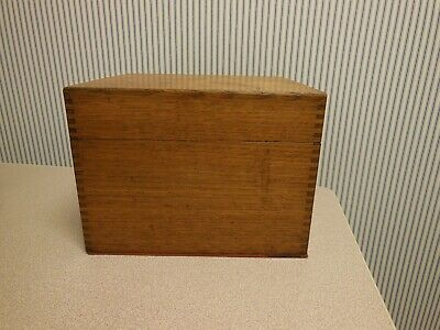 Vintage Tiger Oak Large File Box w Dovetail Corners Mid Century