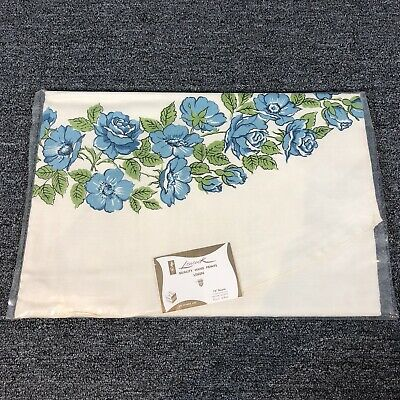"""Vintage 1950s Leacock Tablecloth 72"""" Round Blue Rose Floral Print Linen Unused"""