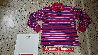 Supreme Striped L/S Polo Medium Magenta FW18 Week 16 New + stickers + bag