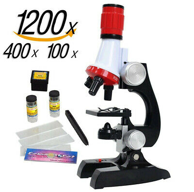 Kids microscope kit Educational toy 100x,400x,1200x magnificatio For Beginner US