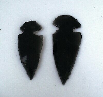 Two OBSIDIAN ARROWHEADS  Carved Healing Crystal Volcanic