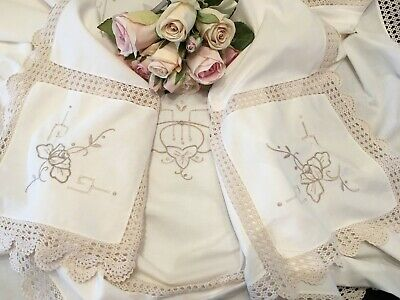 Ecru Tablecloth with Crocheted Inserts & Embroidery 175cm x 137cm