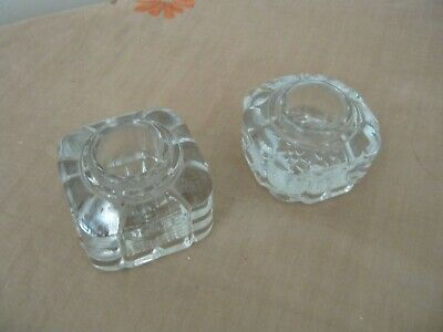 Pair of Vintage Glass INKWELLS. Made in England.