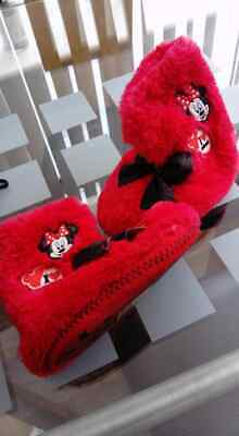 Size 7 Girls Furry Red Slipper Boots Minnie Mouse Sparkly Bows New