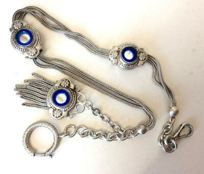 Antique French Silver Albertina,  Blue Glass Inset & Tassel Fob,Victorian~Nice