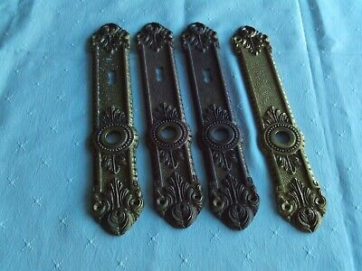2 pairs Vintage French Brass Lever Door Handles Antique Old Plates