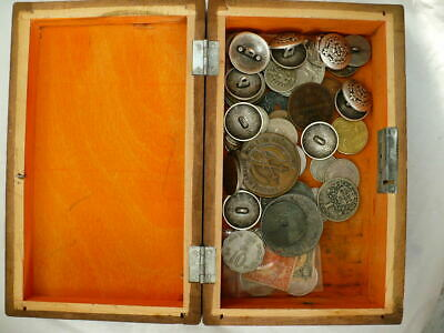 Vintage Box Coins Job Lot Rings Buttons Medals
