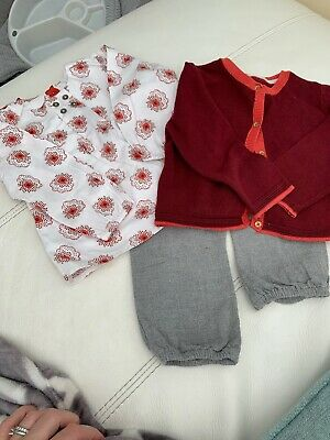 Baby Girls M&S Autograph 3 Piece Outfit Age 12-18 Months Grey White And Burgundy