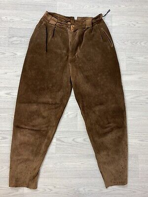 Vintage RIVER ISLAND Brown Suede Leather Trousers Size 12