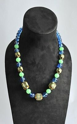 Vintage Necklace of Art Deco Egyptian Revival Beads w/Blue & Green Peking Glass