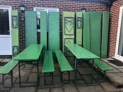 Vintage 2.2 metre Folding German wooden beer garden/patio trestle table/benches
