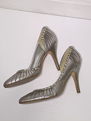 Next Silver Evening Diamanté Shoes Size 6 Party