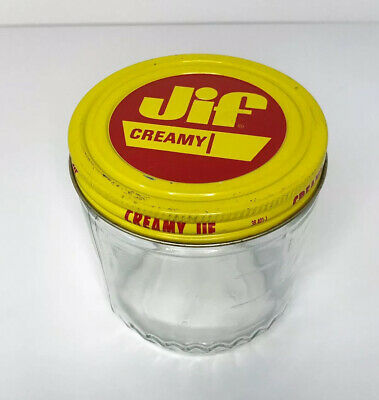 Vintage Retro Jif Peanut Butter Glass Jar With Metal Lid
