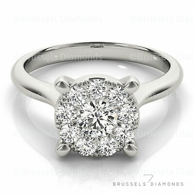 0.60 Ct Cluster DIAMOND Solitaire Engagement Ring Round I/SI1 14K White Gold