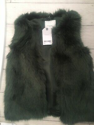 Next Girls Green Gilet New RRP £22 5 Years Faux Fur