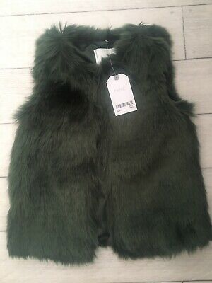 Next Girls Green Gilet New RRP £22 3 Years Faux Fur