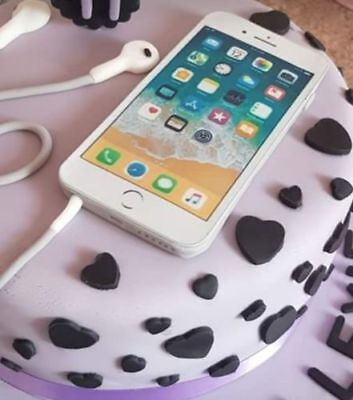 Magnificent White Iphone Mobile Icing Birthday Cake Topper Similar To Real Funny Birthday Cards Online Aeocydamsfinfo