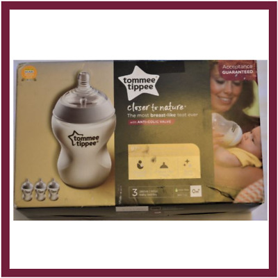 Tommee Tippee Closer to Nature 3 Bottles with Anti Colic Valve 260ml