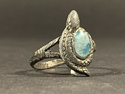 Detailed Ancient Roman Silver Serpent Ring W Turquoise Gem Stone Circa 100-300Ad