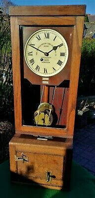 #059 Antique Oak Cased Gledhill Brook 67636 Fusee Time Recorder Wall Clock