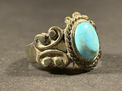 Highly Detailed Ancient Roman Bronze Ring W/ Turquoise Gem Stone Circa 200-300Ad