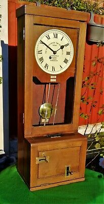 #060 Antique Oak Cased Gledhill Brook 70218 Fusee Time Recorder Wall Clock