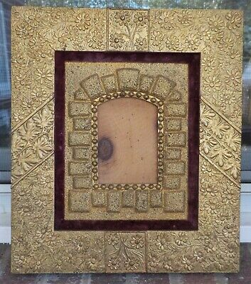 Antique AESTHETIC Movement ERA Floral GOLD Frame for Small MINIATURE Photo c1880