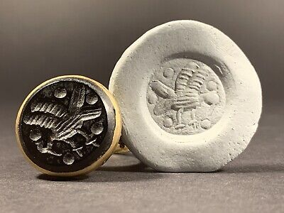 Near East Bronze Polished Seal Ring With Intaglio Seal Stone Circa 1600-1700 Ad