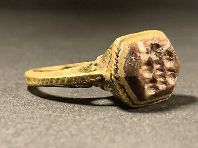 Near East Bronze Polished Seal Ring With Zoomorphic Gem Seal Circa 1600-1700 Ad