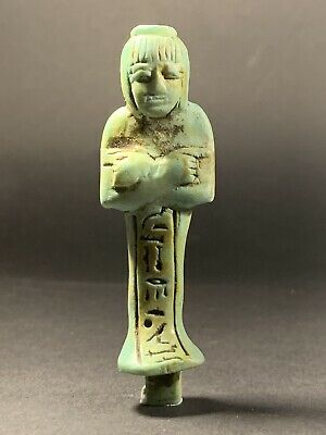 Ancient Egyptian Faience Shabti - Highly Detailed Hieroglyphics Circa 700-332Bc