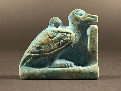 Ancient Egyptian Faience Ibis Nile Bird Statuette God Thoth Circa 770-332Bc