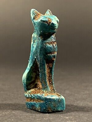 Very Rare Ancient Egyptian Faience Bastet Goddess Statuette Circa 770-332Bc