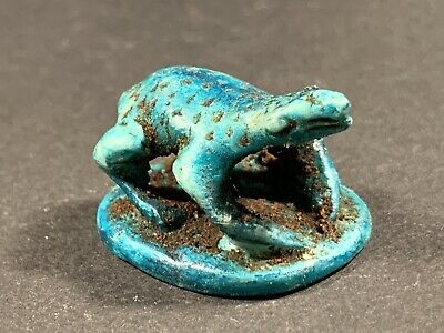 Scarce Beautiful Ancient Egyptian Faience Frog Statue  - Circa. 500Bce
