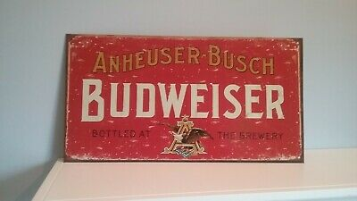 Budweiser- Weathered Rustic Retro Collectibles Tin Metal Sign 8.5 x 16