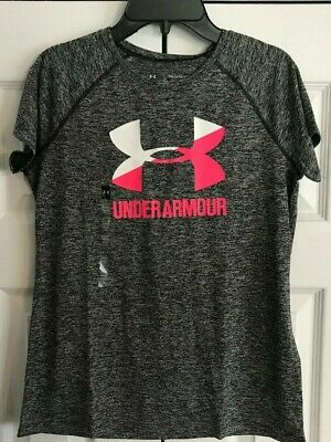 Under Armour Girl's Youth Large Heat Gear Shirt-Grey