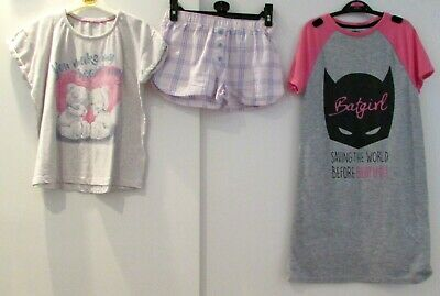 Girls Pyjamas Bundle Age 8-9 Years Tatty Teddy M&S & Batgirl Dc Comics Nightdres