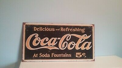 Coke- 1910 Logo Weathered Rustic Retro Collectibles Tin Metal Sign 8.5 x 16