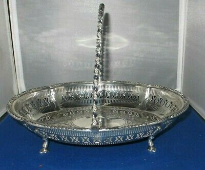 Victorian Silver Plate Basket With Handle  Martin Hall & Co. Antique Exquisite