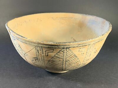 Large Ancient Indus Valley Pottery Bowl With Original Coloring Circa. 2000Bce