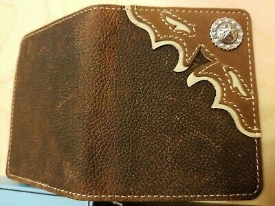 Nocona Western Mens Wallet Trifold Leather Embossed Weave Concho N500002401