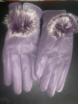 Leather Gloves Fleece Lined - Purple/Lilac with pompom