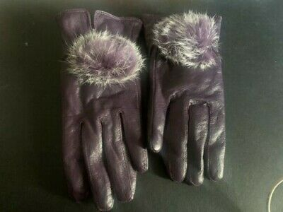 Leather Gloves Fleece Lined - Purple with pompom