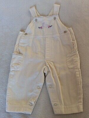 M & S Girls cream cord dungarees age 6-9-12 mths Excellent Condition