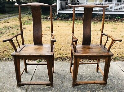 Antique Chinese Ming Yoke High Back Exotic Wood Armchairs c. 1870 Chair Pair