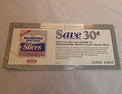 Coupon for Philadelphia Cream Cheese Slices Save 30₵ - Obsolete Collector's Copy